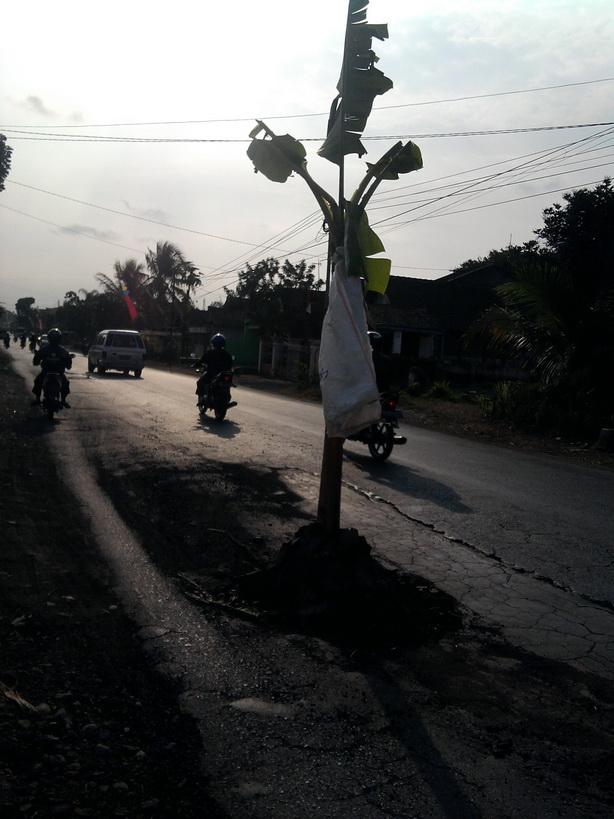Pohon Pisang di tanam di Tengah Jalan